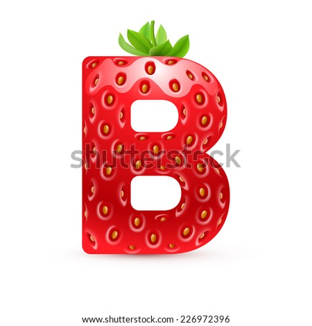 Raster version. Letter B in strawberry style with green leaves  - stock photo