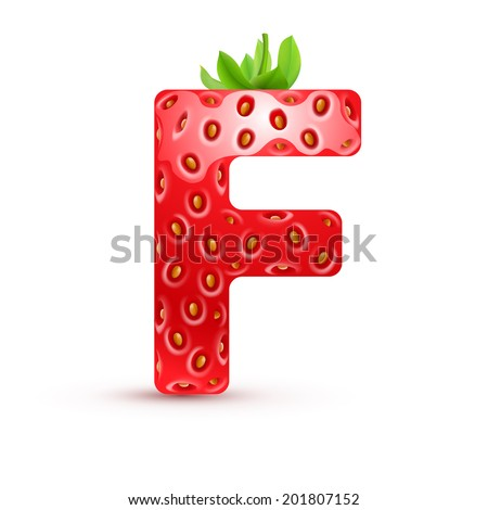 Raster version. Letter F in strawberry style with green leaves - stock photo