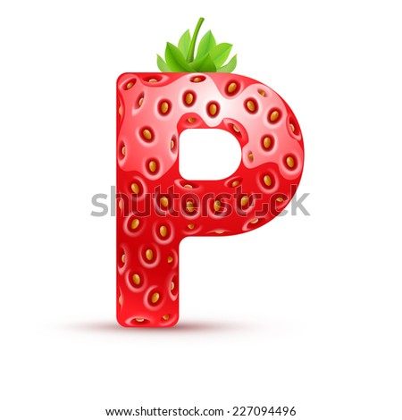 Raster version. Letter P in strawberry style with green leaves  - stock photo