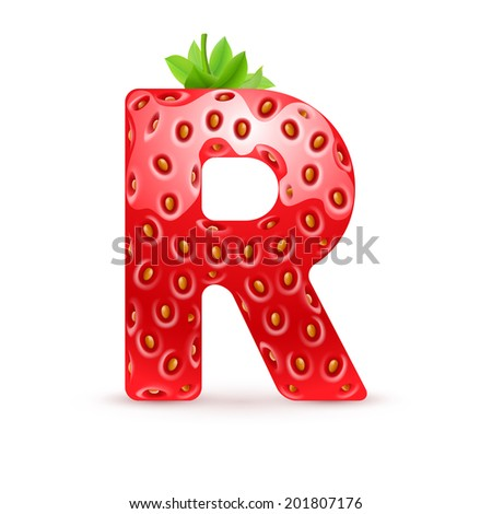 Raster version. Letter R in strawberry style with green leaves - stock photo