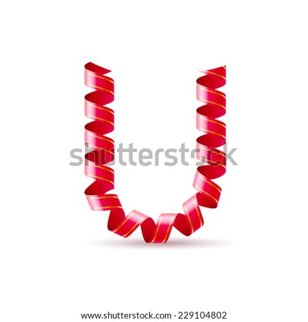Raster version. Letter U made of red curled shiny ribbon  - stock photo