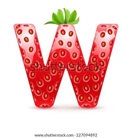 Raster version. Letter W in strawberry style with green leaves  - stock photo