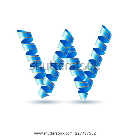 Raster version. Letter W made of blue curled shiny ribbon  - stock photo