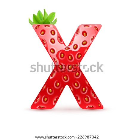 Raster version. Letter X in strawberry style with green leaves  - stock photo