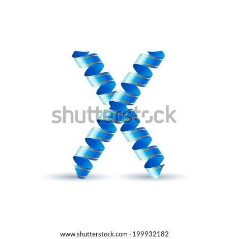 Raster version. Letter X made of blue curled shiny ribbon - stock photo