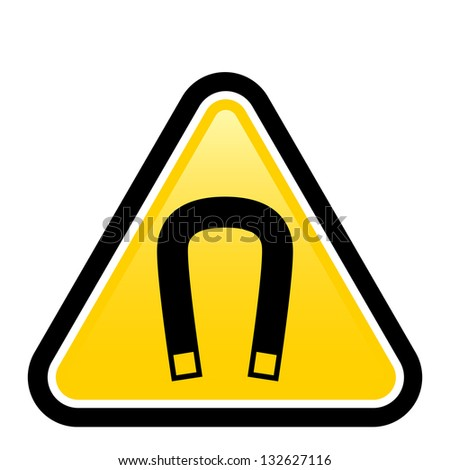 Raster version. Magnetic field warning sign. Illustration on white background for design - stock photo