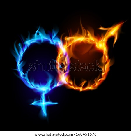 Raster version. Mars and Venus fire symbols on black background.  - stock photo