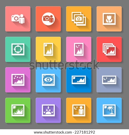 Raster version. Media Photo Icons with different photo shot ilustrations of man with camera and varius landscapes with flower,sun,moon,palm,stars and mountains.  - stock photo