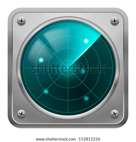 Raster version. Metal framed radar screen with some objects detected. Tracking system. - stock photo