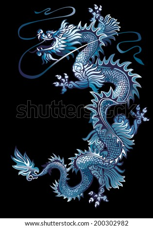 Raster version / Moving up blue oriental dragon on a black background - stock photo