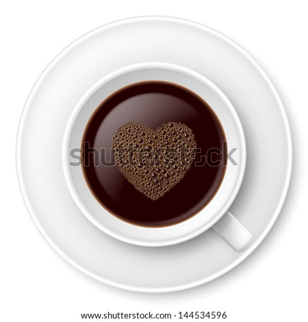Raster version. Mug of coffee with foam and saucer. Illustration on white - stock photo