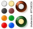 Raster version. Multicolored  bottle cap.  Illustration on white background - stock photo