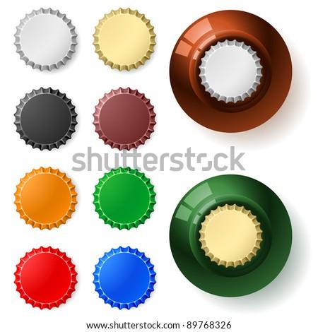 Raster version. Multicolored  bottle cap.  Illustration on white background - stock photo