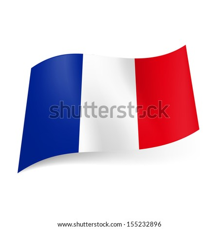 Raster version. National flag of France: blue, white and red vertical stripes. - stock photo