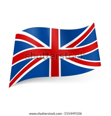 Raster version. National flag of Great Britain, called Union Jack. Blue, red and white colored banner. - stock photo