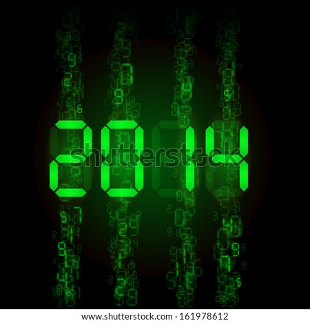 Raster version. New Year 2014: green digital numerals on black. - stock photo