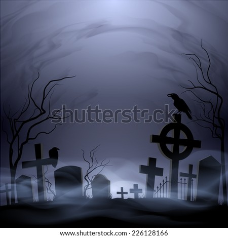 Raster version. Night cemetery. Headstones and crosses. Clouds and fog.  - stock photo