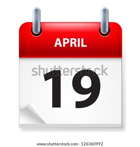Raster version. Nineteenth in April Calendar icon on white background - stock photo