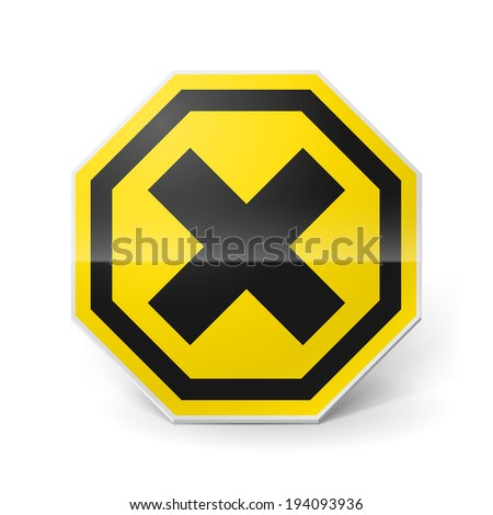 Raster version. Noxious and irritating metal warning sign on white background - stock photo