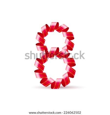 Raster version. Number eight made of red curled shiny ribbon  - stock photo