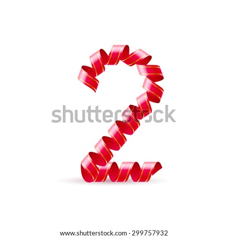 Raster version. Number two made of red curled shiny ribbon