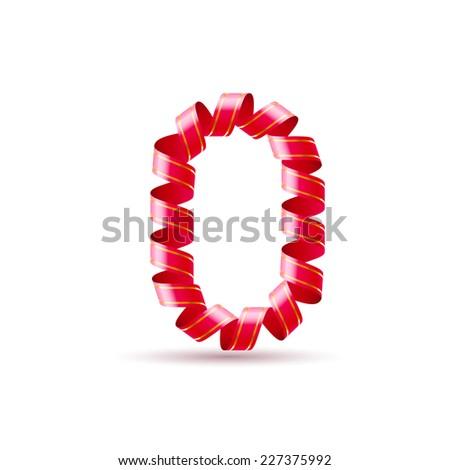 Raster version. Number zero made of red curled shiny ribbon  - stock photo