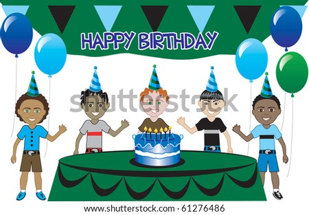 Raster version of a birthday party with cake. Five young happy kids celebrating. Can be used as an invitation. Available in all girls, all boys and mixed group of kids. - stock photo