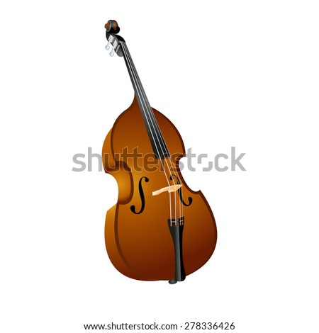 raster version of a stringed musical instrument contrabass - stock photo
