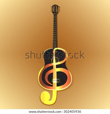 Raster version of an acoustic guitar with the image of a treble clef on wooden background color - stock photo