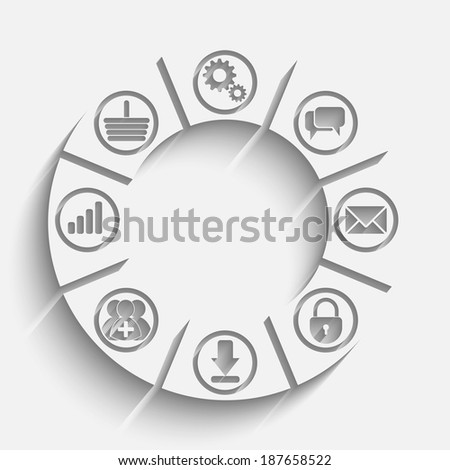 Raster version of apps processing concept background with icons: lock, gears, reitings, basket, bubbles, mail, downloads, social network group - stock photo