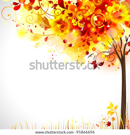 raster version of autumn composition with bright tree - stock photo