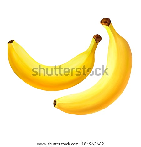 Raster version of Banana fruit. Isolated on white background. Realistic digital paint. - stock photo