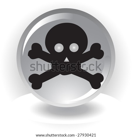 raster version of black danger scull icon on sphere background
