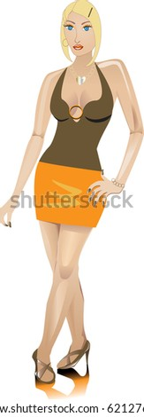 Raster version of Blond woman dressed fashionably for a night out. - stock photo