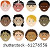 Raster version of 12 Boys Faces - stock photo