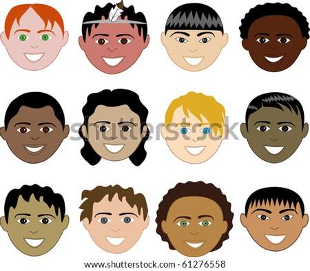 Raster version of 12 Boys Faces - stock photo
