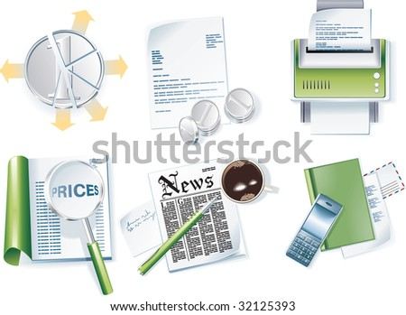 raster version of business icon set. Part 1 - stock photo