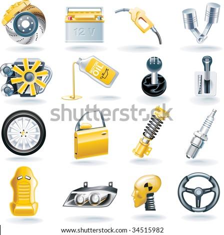 Raster version of car parts icon set - stock photo
