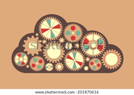 Raster version of cloud with gears - stock photo