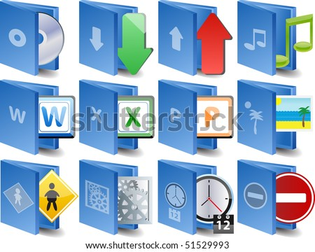 raster version of computer folder icon set - stock photo