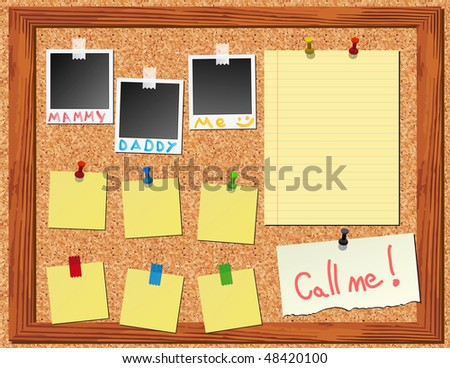 raster version of  corkboard with stickers and photo frame  instant photo - stock photo