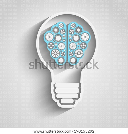 Raster version of Creative bulb with brain, brain with clouds with gears working together - stock photo