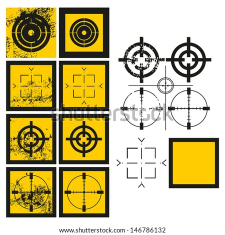 Raster version of crosshairs set with a grunge effect illustration. Vector file is also available in my portfolio - stock photo