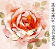 raster version of decorative composition with big grunge rose - stock photo