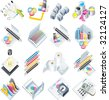 Raster version of design and print service icon set - stock vector