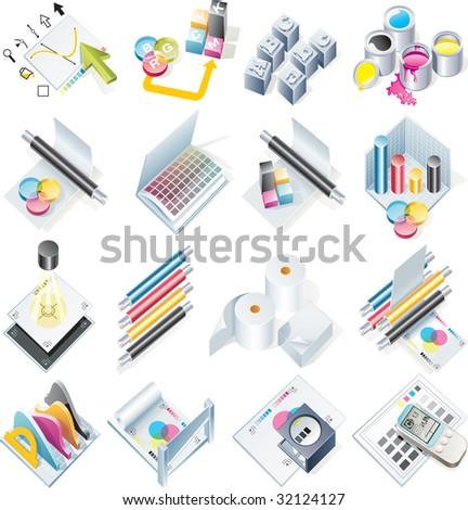 Raster version of design and print service icon set - stock photo