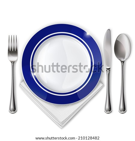 Raster version of empty plate with spoon, knife and fork on a white background.  - stock photo