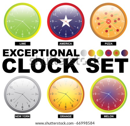 Raster version of exceptional clock set (vector available) - stock photo