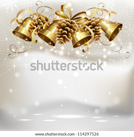 raster version of festive bells and cones on the Christmas background - stock photo