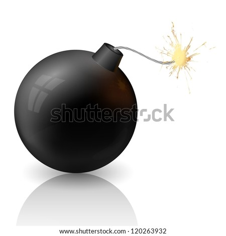 raster version of flaming cannonball - stock photo